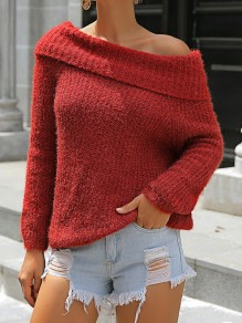 Red Asymmetric Shoulder Long Sleeve Fashion Pullover Sweater