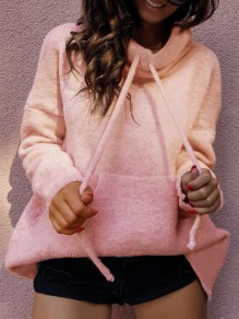Pink Drawstring Pockets Bodycon Comfy Going out Sweater