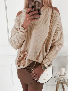 Khaki Patchwork Sequin Cut Out Bodycon Fashion Sweater
