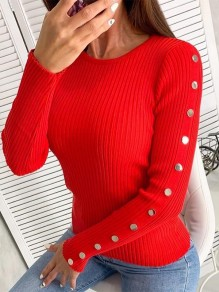 Red Print Turndown Collar Pullover Sweater