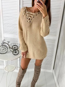 Khaki Print Turndown Collar Pullover Sweater