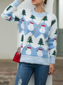 Blue Snowman Print Round Neck Long Sleeve christmas Pullovers Sweaters
