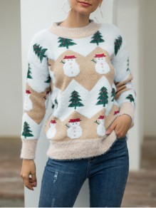 Khaki Snowman Print Round Neck Long Sleeve christmas Pullovers Sweaters