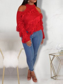 Red Halter Neck Tassel Cut Out Casual Pullover Sweater
