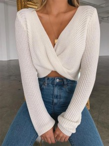 White Patchwork Irregular Cross Chest Long Sleeve Vintage Pullover Sweater