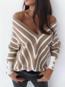 Khaki White Striped Buttons Retro Dolman Sleeve Fashion Pullover Sweater