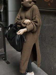 Brown High Neck Long Sleeve Slit Oversize Fashion Pullover Sweater