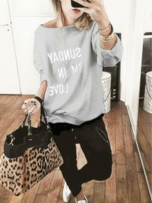 Grey Monogram Asymmetric Shoulder Long Sleeve Pullover Sweater
