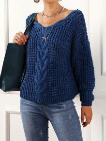 Blue Oversize V-neck Long Sleeve Fashion Pullover Sweater