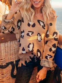 Khaki Leopard Print Distressed V-neck Long Sleeve Oversize Pullover Sweater
