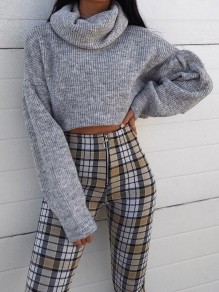 Grey High Neck Long Sleeve Crop Preppy Style Cute Pullover Sweater