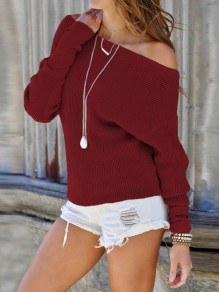 Red Off Shoulder Dolman Sleeve Casual Pullover Sweater