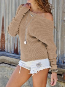 Camel Off Shoulder Dolman Sleeve Casual Pullover Sweater