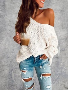 White One Off Shoulder Cute Casual Pullover Sweater