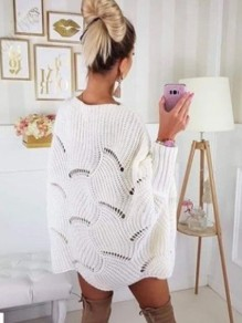 White Cut Out Wavy Edge Bodycon Dolman Sleeve Going out Sweaters