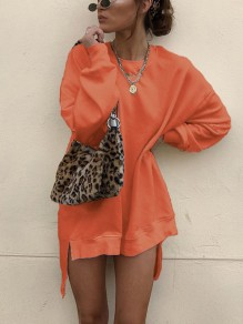 Orange Round Neck Long Sleeve High-Low Casual Sweatshirt