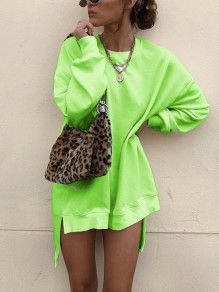 Neon Green Round Neck Long Sleeve High-Low Casual Sweatshirt