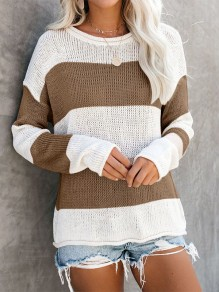 Khaki Striped Pattern Round Neck Going Out Pullover Sweater