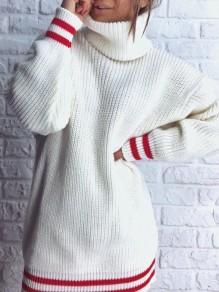 White Striped Print High Neck Long Sleeve Oversize Pullover Sweater