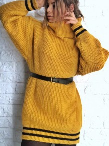 Yellow Striped Print High Neck Long Sleeve Oversize Pullover Sweater