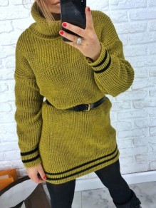 Green Striped Print High Neck Long Sleeve Oversize Pullover Sweater