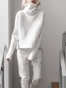 White Plain Double Slit Pastel Trendy High Neck Going Out Pullover Sweater