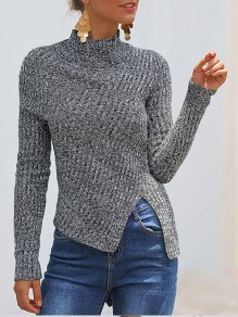 Grey Side Slit Bodycon Comfy Ttrendy Long Sleeve Going out Sweater