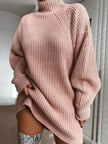 Pink High Neck Long Sleeve Fashion Oversize Pullover Sweater