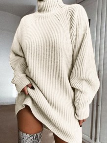 Apricot High Neck Long Sleeve Fashion Oversize Pullover Sweater