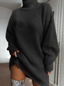 Dark Grey High Neck Long Sleeve Fashion Oversize Pullover Sweater