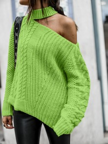 Green Cut Out One-shoulder Long Sleeve Oversize Pullover Sweater