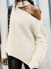 White Cut Out One-shoulder Long Sleeve Oversize Pullover Sweater
