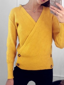 Yellow Buttons V-neck Long Sleeve Fashion Pullover Sweater