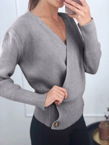 Grey Buttons V-neck Long Sleeve Fashion Pullover Sweater