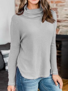 Grey Plain Fits Me Like A Glove High Neck Long Sleeve Pullover Sweater