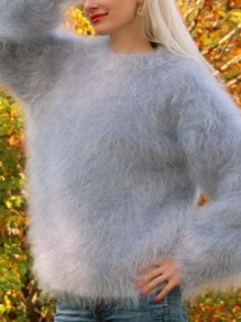 Grey Round Neck Long Sleeve Fashion Oversize Mohair Pullover Sweater