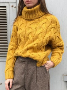 Yellow Turndown Collar Long Sleeve Oversize Pullover Fashion Sweater