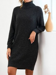 Black Pocket Turndown Collar Long Sleeve Oversize Pullover Fashion Sweater