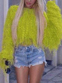 Neon Yellow Patchwork Sequin Tassel Knit Fuzzy Sparkly Crop NYE Party Pullover Sweater