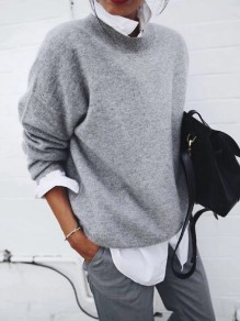 Grey False 2-in-1 Round Neck Long Sleeve Fashion Pullover Sweater