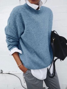 Blue False 2-in-1 Round Neck Long Sleeve Fashion Pullover Sweater