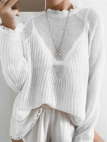 White Patchwork Round Neck Long Sleeve Fashion Pullover Sweater