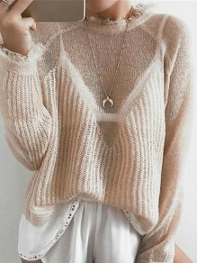Apricot Patchwork Round Neck Long Sleeve Fashion Pullover Sweater