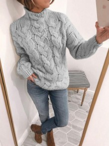 Grey Geometric Print Turndown Collar Pullover Sweater