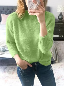 Green Mohair Round Neck Long Sleeve Oversize Fashion Pullover Sweater