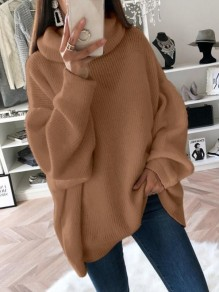 Brown High Neck Long Sleeve Oversize Fashion Pullover Sweater