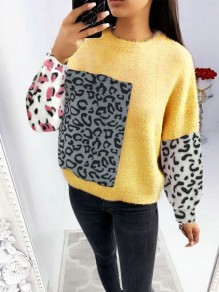 Yellow Leopard Print Round Neck Long Sleeve Fashion Pullover Sweater