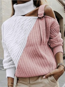 Pink Patchwork Belt Bodycon Hit Color Going out Sweater