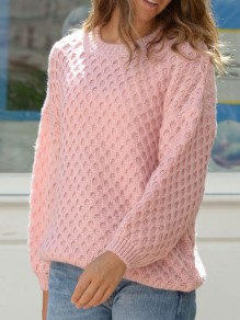 Pink Plaid Round Neck Long Sleeve Oversize Pullover Fashion Sweater