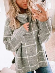 Grey Print Turndown Collar Pullover Sweater